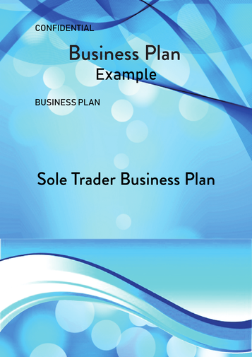 Sole Trader Business Plan Example Cover